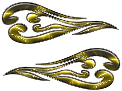 Custom Motorcycle Tank Flames or Vehicle Flame Decal Kit in Lightning Yellow