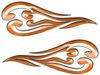 Custom Motorcycle Tank Flames or Vehicle Flame Decal Kit in Orange