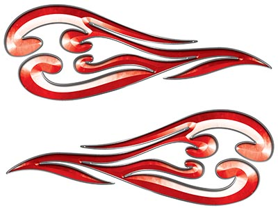 Custom Motorcycle Tank Flames or Vehicle Flame Decal Kit in Red