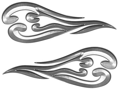 Custom Motorcycle Tank Flames or Vehicle Flame Decal Kit in Silver