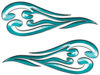 Custom Motorcycle Tank Flames or Vehicle Flame Decal Kit in Teal