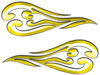 Custom Motorcycle Tank Flames or Vehicle Flame Decal Kit in Yellow