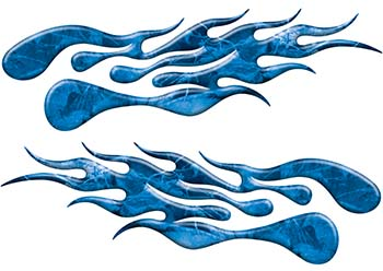 Extreme Flame Decals in Blue Camouflage