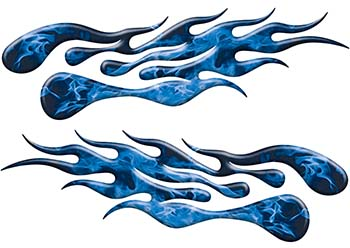 Extreme Flame Decals in Blue Inferno