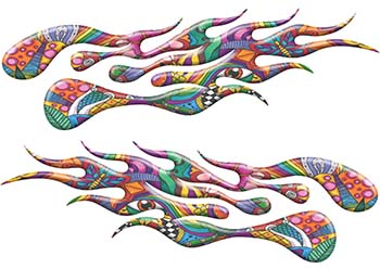 Extreme Flame Decals with Psychedelic Art