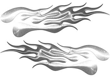 Extreme Flame Decals in Silver