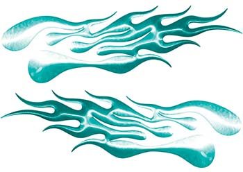 Extreme Flame Decals in Teal