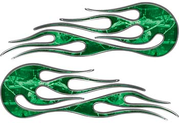 Hot Rod Classic Car Style Flame Graphics with Silver Outline in Green Camouflage