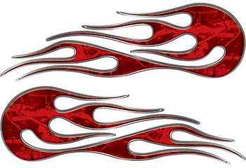 Hot Rod Classic Car Style Flame Graphics with Silver Outline in Red Camouflage