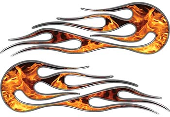 Hot Rod Classic Car Style Flame Graphics with Silver Outline in Inferno