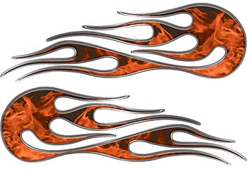 Hot Rod Classic Car Style Flame Graphics with Silver Outline in Orange Inferno