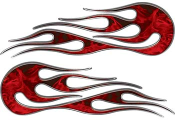 Hot Rod Classic Car Style Flame Graphics with Silver Outline in Red Inferno