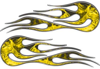 Hot Rod Classic Car Style Flame Graphics with Silver Outline in Yellow Inferno