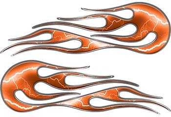Hot Rod Classic Car Style Flame Graphics with Silver Outline with Orange Lightning Strikes