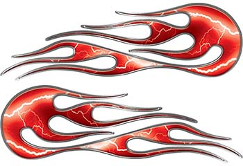 Hot Rod Classic Car Style Flame Graphics with Silver Outline with Red Lightning Strikes