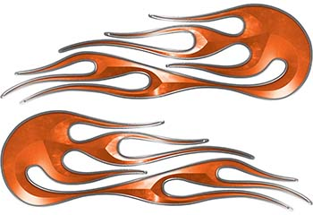 Hot Rod Classic Car Style Flame Graphics with Silver Outline in Orange