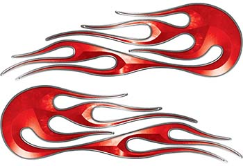 Hot Rod Classic Car Style Flame Graphics with Silver Outline in Red