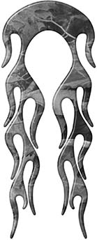 Motorcycle Fender, Car or Truck Flame Graphic in Gray Camouflage