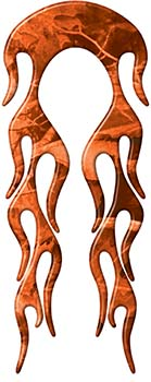 Motorcycle Fender, Car or Truck Flame Graphic in Orange Camouflage