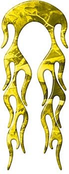 Motorcycle Fender, Car or Truck Flame Graphic in Yellow Camouflage
