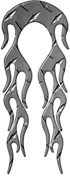 Motorcycle Fender, Car or Truck Flame Graphic in Diamond Plate