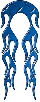 Motorcycle Fender, Car or Truck Flame Graphic in Blue Diamond Plate