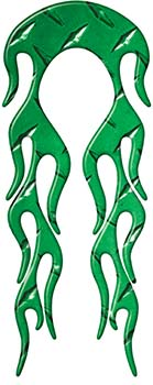 Motorcycle Fender, Car or Truck Flame Graphic in Green Diamond Plate