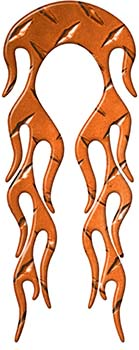 Motorcycle Fender, Car or Truck Flame Graphic in Orange Diamond Plate