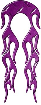 Motorcycle Fender, Car or Truck Flame Graphic in Purple Diamond Plate