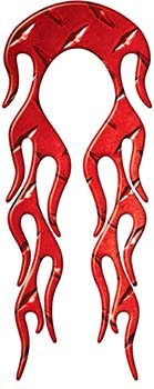 Motorcycle Fender, Car or Truck Flame Graphic in Red Diamond Plate