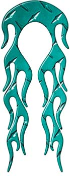 Motorcycle Fender, Car or Truck Flame Graphic in Teal Diamond Plate