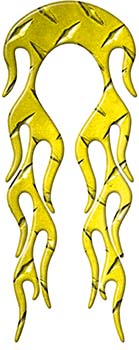 Motorcycle Fender, Car or Truck Flame Graphic in Yellow Diamond Plate