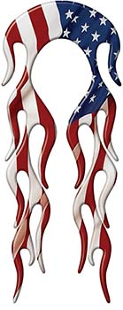 Motorcycle Fender, Car or Truck Flame Graphic with American Flag