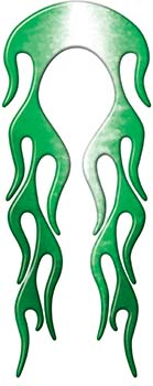Motorcycle Fender, Car or Truck Flame Graphic in Green