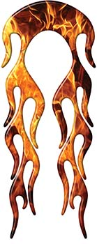 Motorcycle Fender, Car or Truck Flame Graphic in Inferno Flames