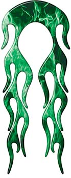 Motorcycle Fender, Car or Truck Flame Graphic in Green Inferno Flames