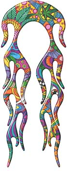 Motorcycle Fender, Car or Truck Flame Graphic in Psychedelic Art
