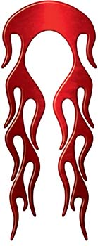 Motorcycle Fender, Car or Truck Flame Graphic in Red