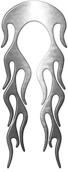 Motorcycle Fender, Car or Truck Flame Graphic in Silver