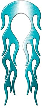 Motorcycle Fender, Car or Truck Flame Graphic in Teal