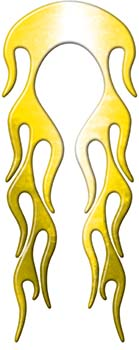 Motorcycle Fender, Car or Truck Flame Graphic in Yellow