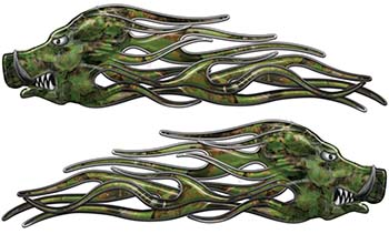 New School Crazy Hog Car Truck ATV or Motorcycle Flame Stickers / Decal Kit in Camouflage