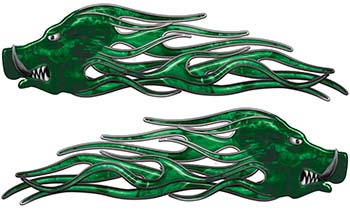 New School Crazy Hog Car Truck ATV or Motorcycle Flame Stickers / Decal Kit in Green Camouflage