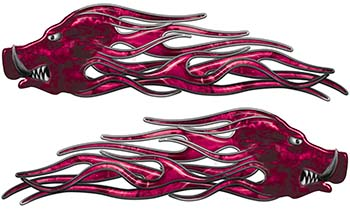 New School Crazy Hog Car Truck ATV or Motorcycle Flame Stickers / Decal Kit in Pink Camouflage