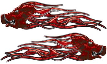 New School Crazy Hog Car Truck ATV or Motorcycle Flame Stickers / Decal Kit in Red Camouflage