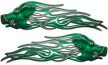 New School Crazy Hog Car Truck ATV or Motorcycle Flame Stickers / Decal Kit in Green