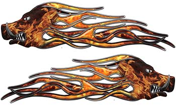 New School Crazy Hog Car Truck ATV or Motorcycle Flame Stickers / Decal Kit in Inferno
