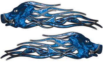 New School Crazy Hog Car Truck ATV or Motorcycle Flame Stickers / Decal Kit in Blue Inferno