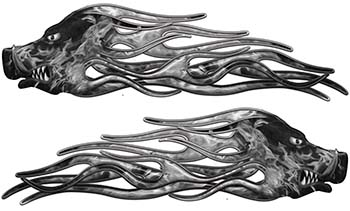 New School Crazy Hog Car Truck ATV or Motorcycle Flame Stickers / Decal Kit in Gray Inferno