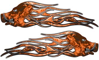 New School Crazy Hog Car Truck ATV or Motorcycle Flame Stickers / Decal Kit in Orange Inferno